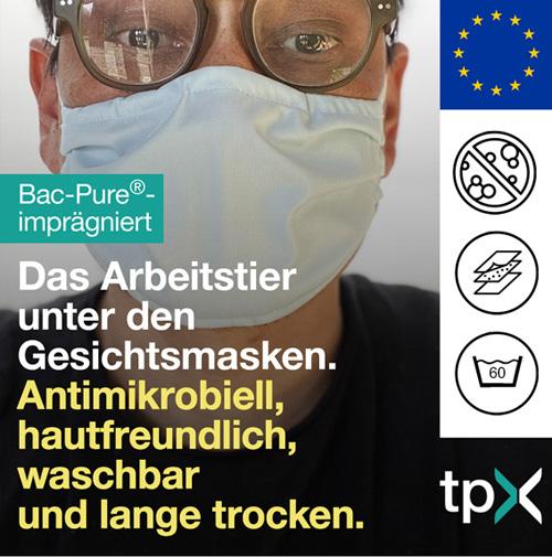Bac-Pure - Das Arbeitstier unter den Gesichtsmasken: Antimikrobiell, hautfreundlich, waschbar und lange trocken.